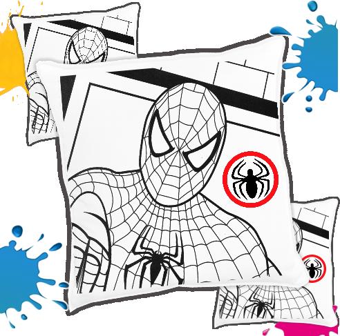 Kit com 10 Almofadas para Colorir e Pintar Personalizada Homem Aranha