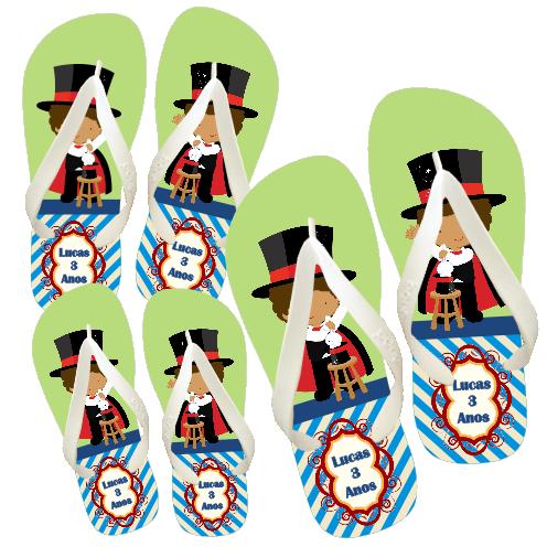 Kit com 10 chinelo Infantil personalizado para aniversário