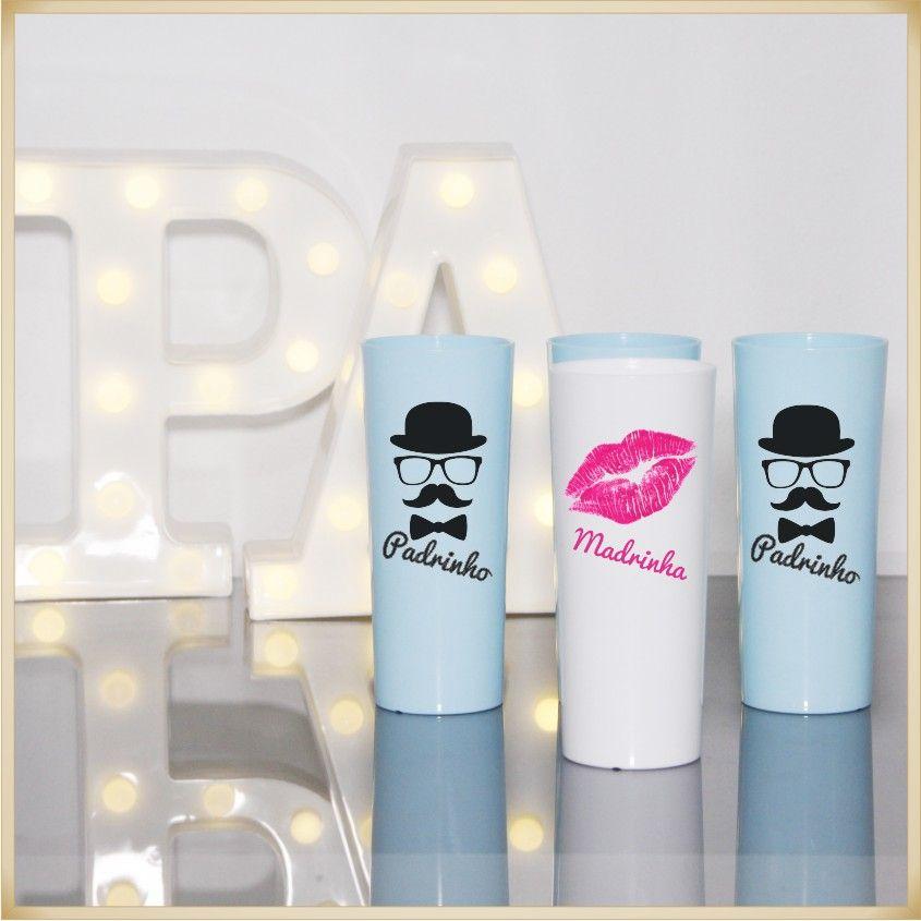 Copos Long Drink de acrílico Personalizados para Festas de casamento madrinhas noivas - Kit com 30 unidades