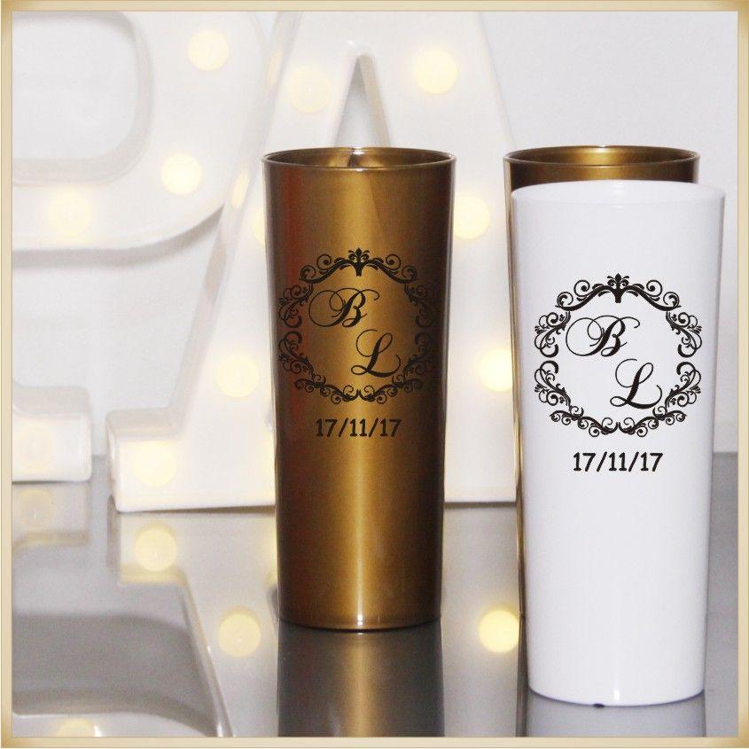 Copos Long Drink acrílico Personalizados para Festas de casamento e padrinhos - Kit com 50 unidades