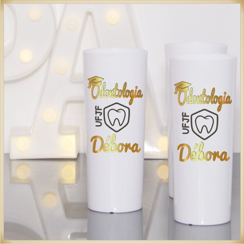 Copos Long Drink de acrílico Personalizados para Festas de formatura e cursos - Kit com 50 unidades
