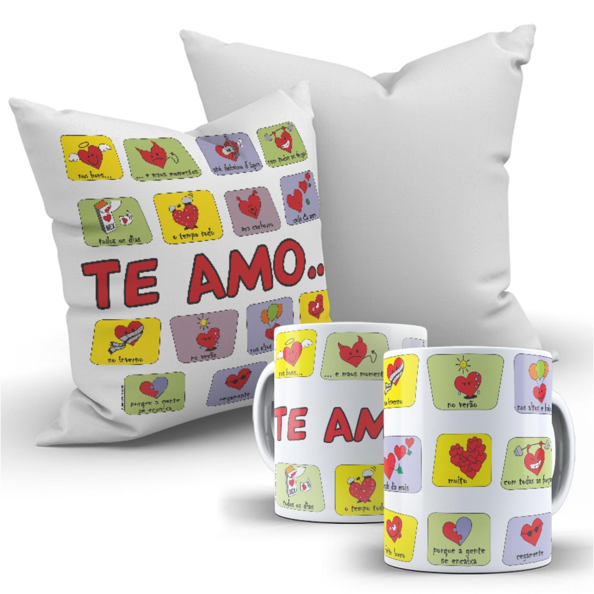 Kit Dia dos namorados Te Amo de Varias formas - 1 Almofada quadrada + 1 Caneca de Porcelana