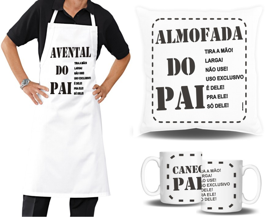 Kit do Papai  - Almofada quadrada + Avental + Caneca Porcelana