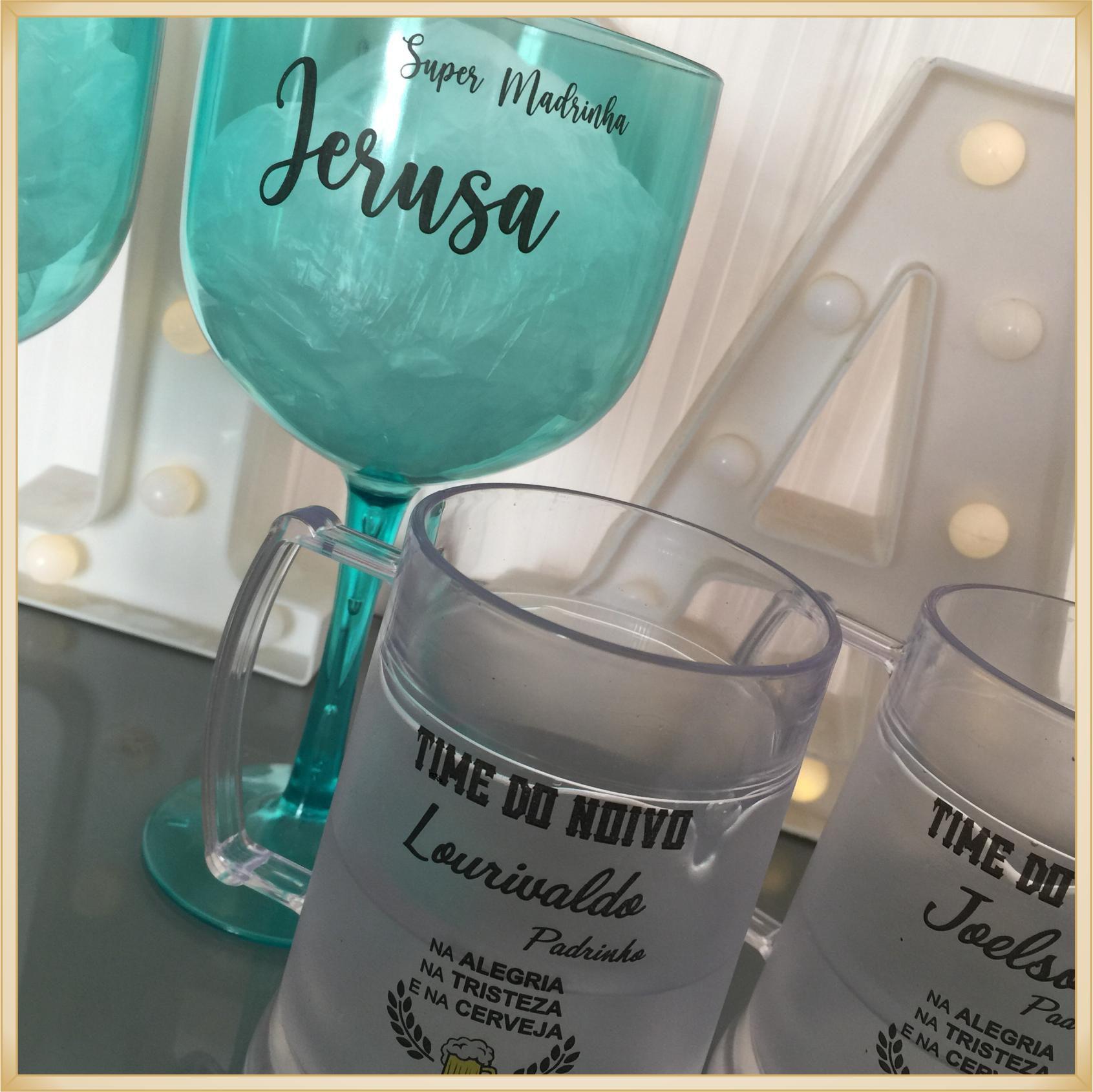 Kit padrinhos de casamento com Taça de Gin + Caneca de gel Personalizada - 10 unidades de cada