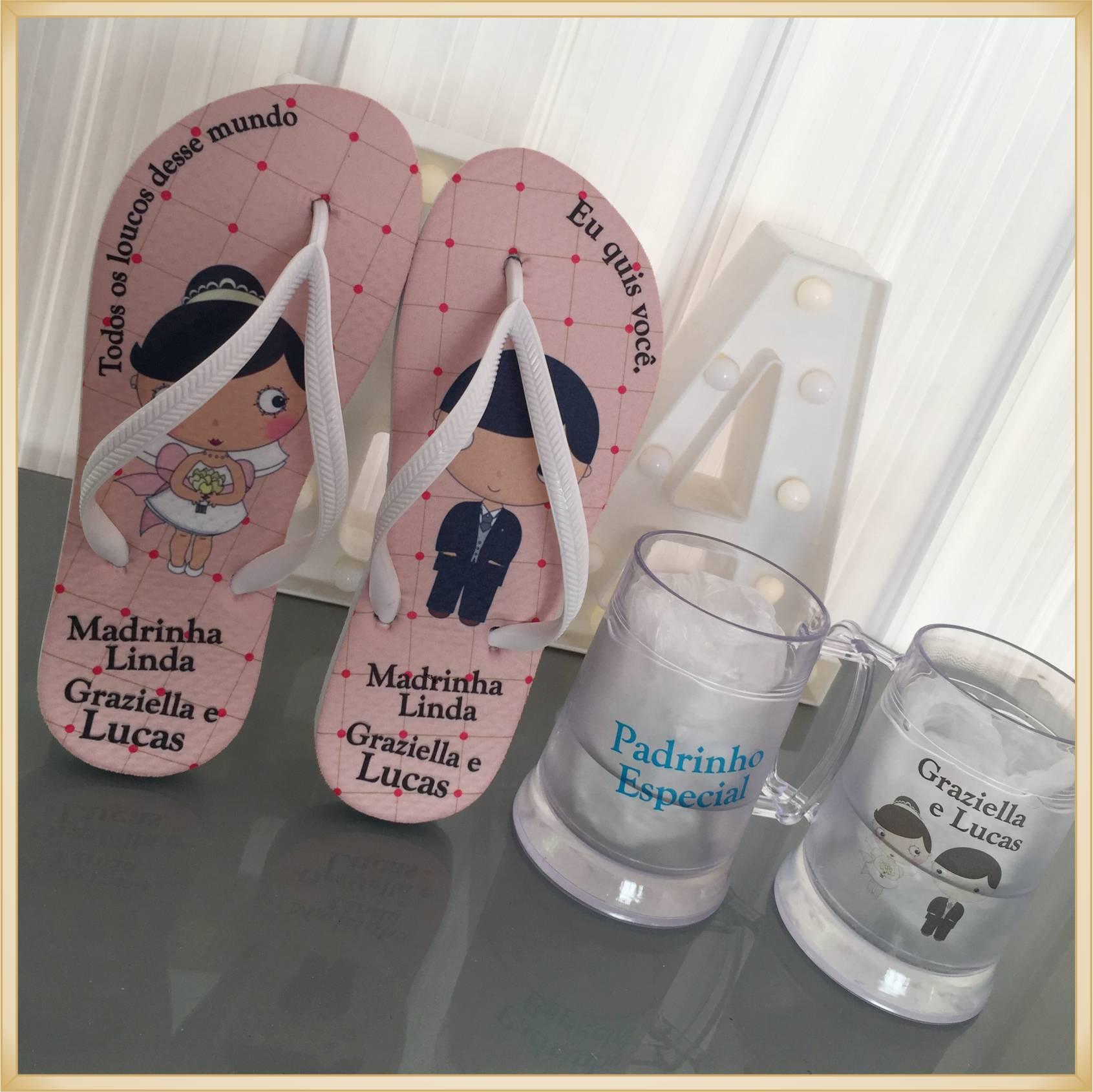 Kit personalizado casamento padrinhos Chinelos + canecas de gel -  10 unidades de cada