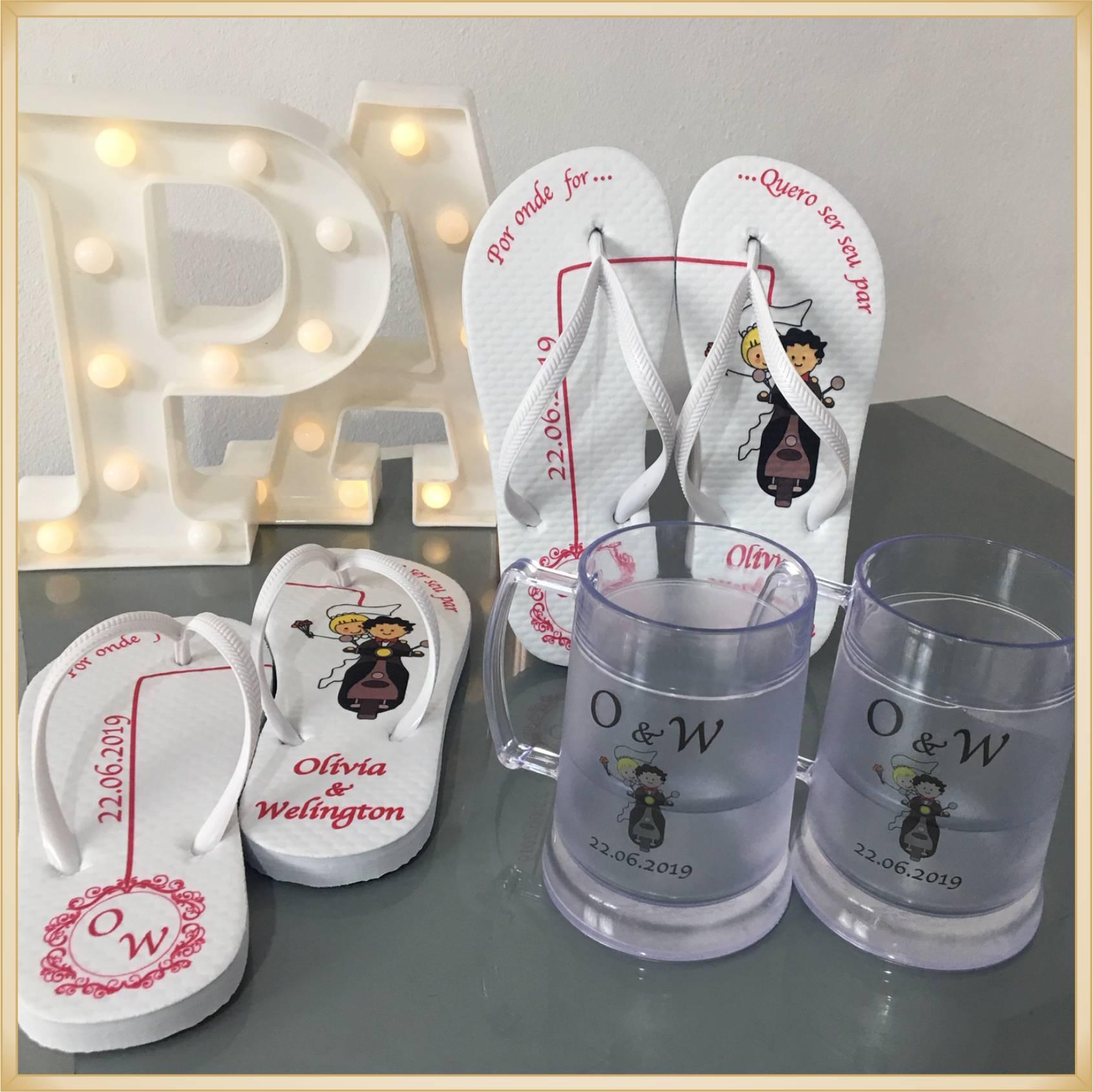 Kit personalizado casamento padrinhos Chinelos + canecas de gel -  5 unidades de cada