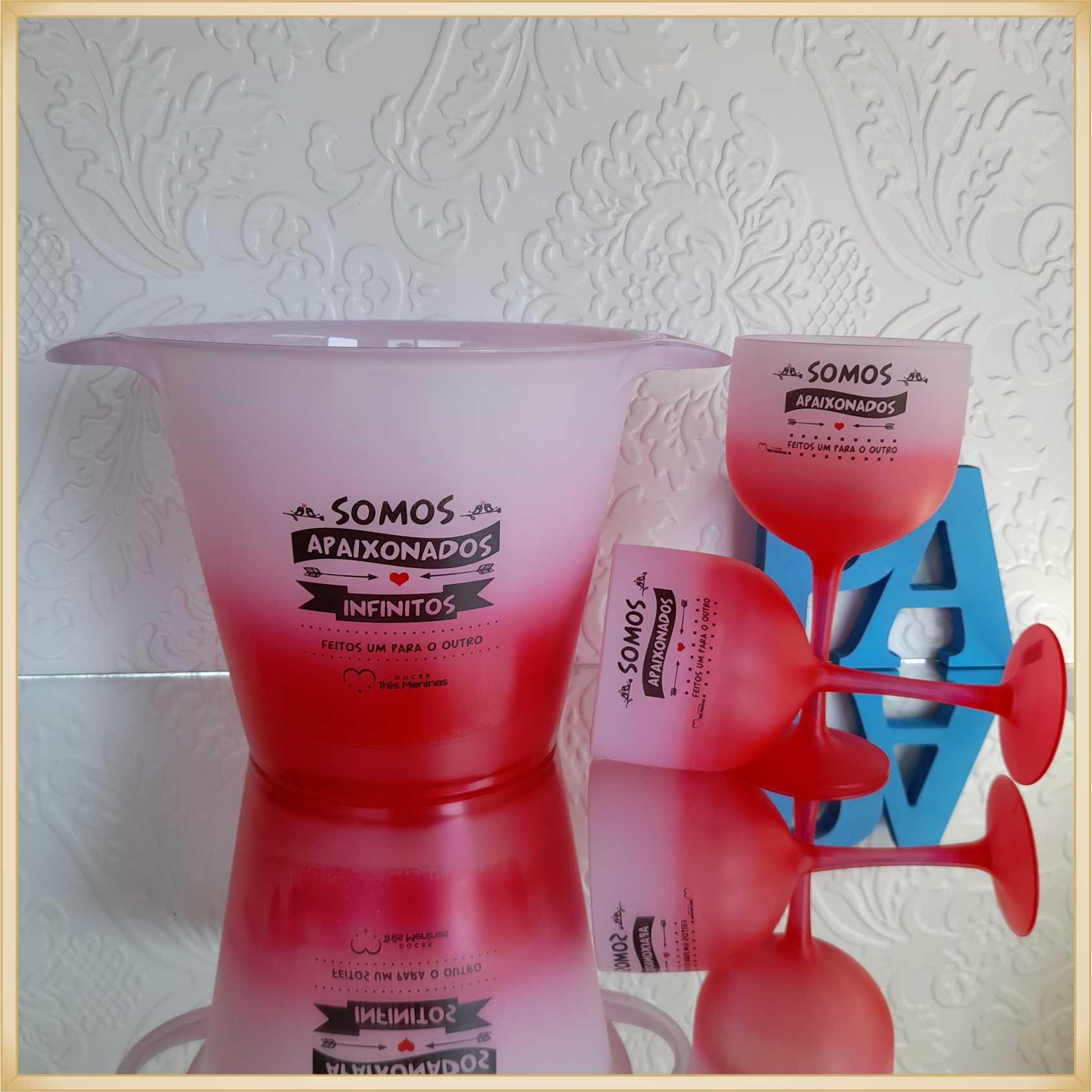 Kit Personalizado Dia dos namorados - Balde de Gelo + 2 Taças de gin