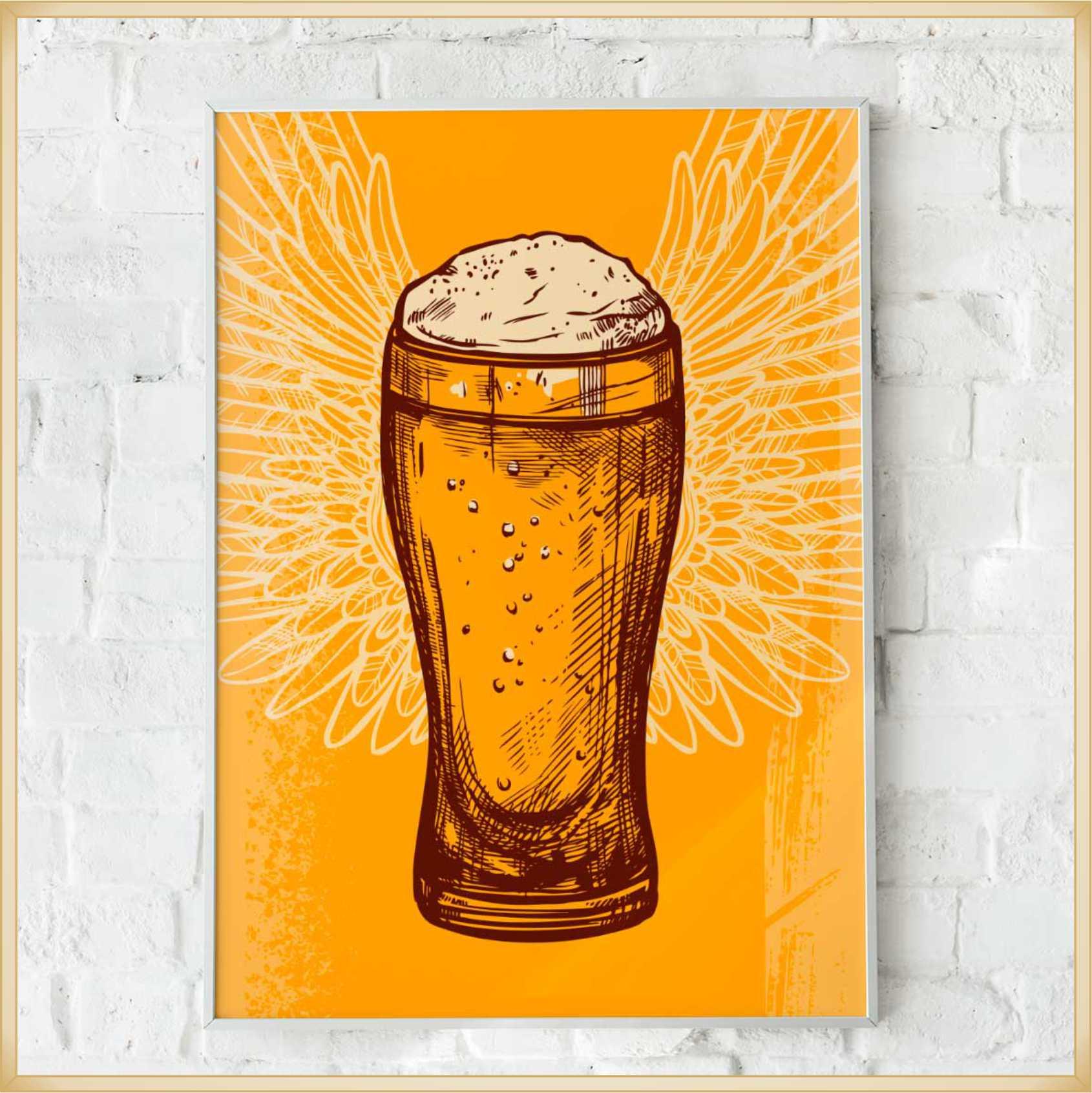 Quadros decorativos personalizados Modelos Cerveja – Ótima qualidade, não risca, não desbota, acabamento perfeito, fixação com dupla face, Mdf 6 mm