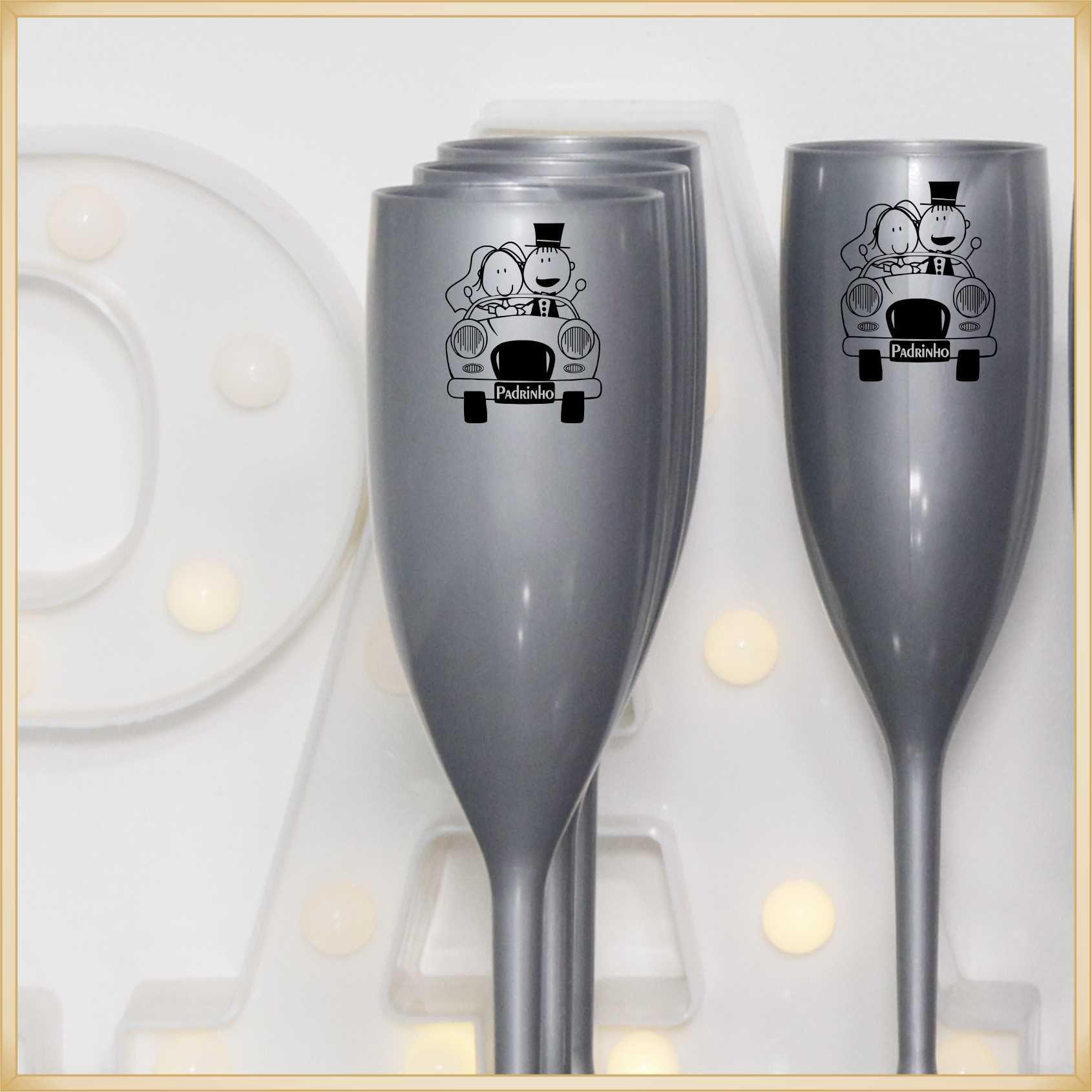 Taça de acrílico Personalizada Casamento - acrílico de qualidade, brilhante, ótimo acabamento, parede de 2,0 mm, produto Atóxico, 190 ml.