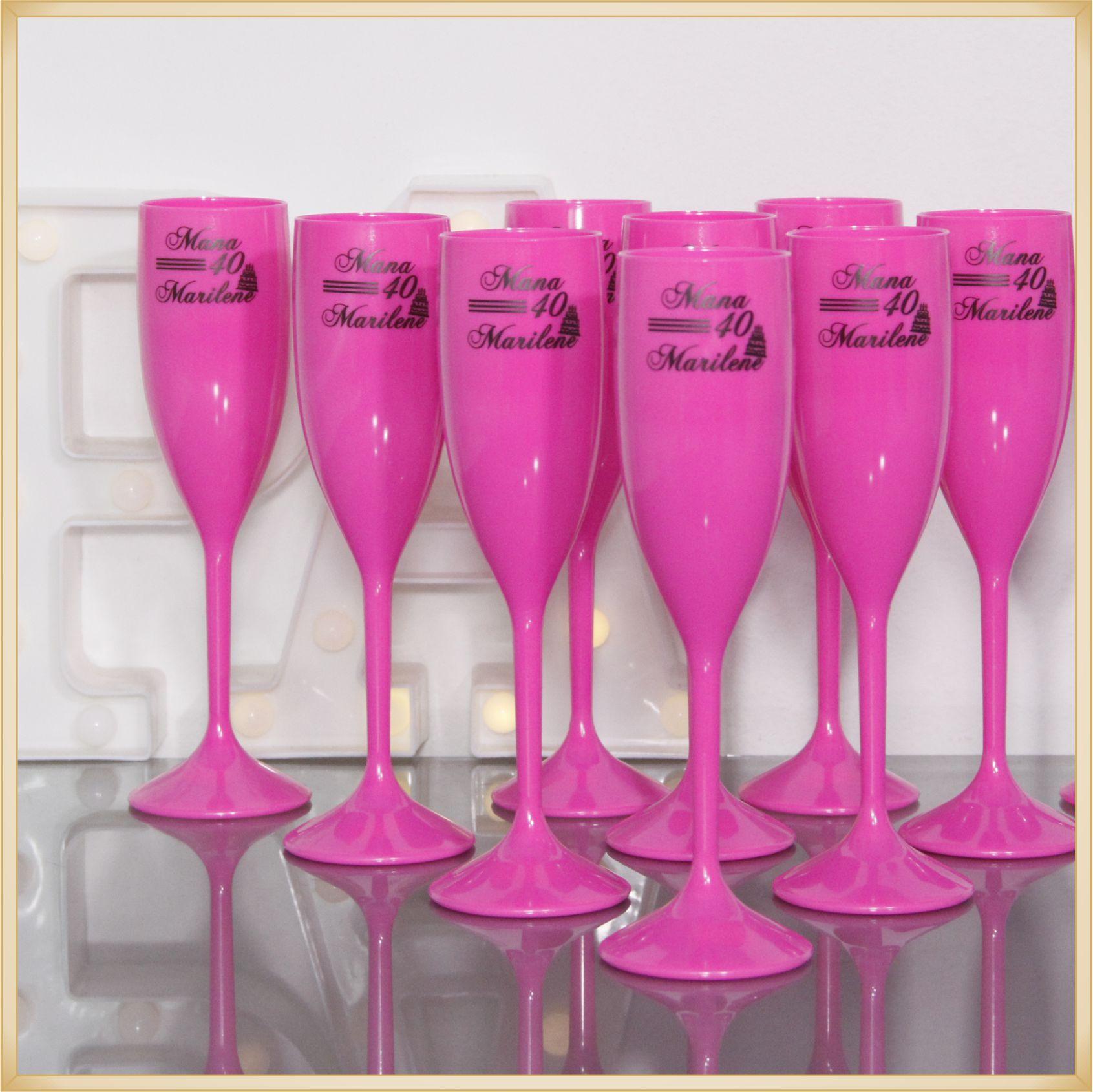 Taças de champanhe acrílico Personalizadas - material de qualidade, brilhante, acabamento perfeito, parede de 2,0 mm, 190 ml. kit 100 unidades