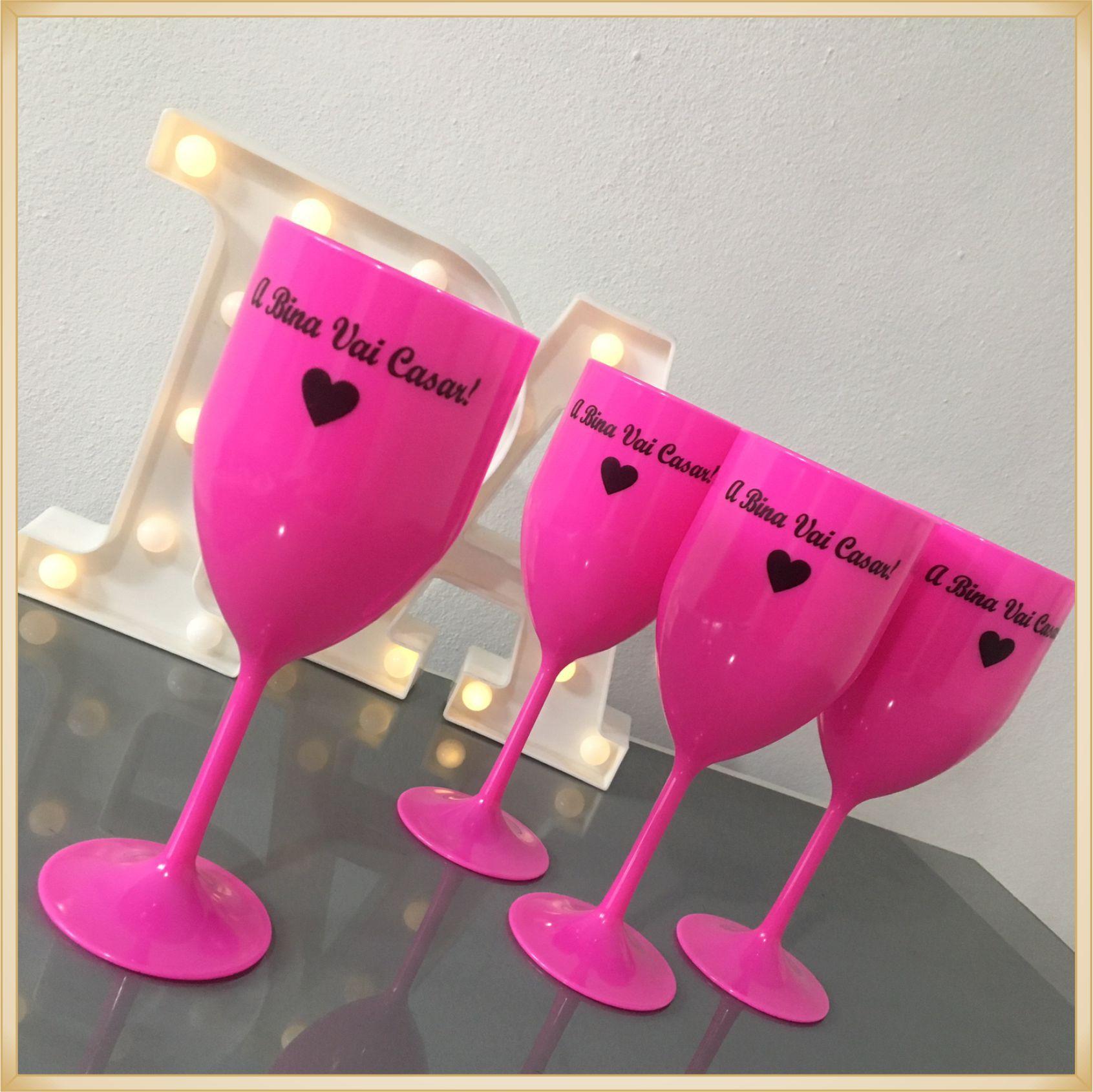 Taças de vinho acrílico Personalizadas - estampas de qualidade, brilhante e durável, acabamento perfeito, parede de 2,0 mm, 350 ml. kit 40 unidades