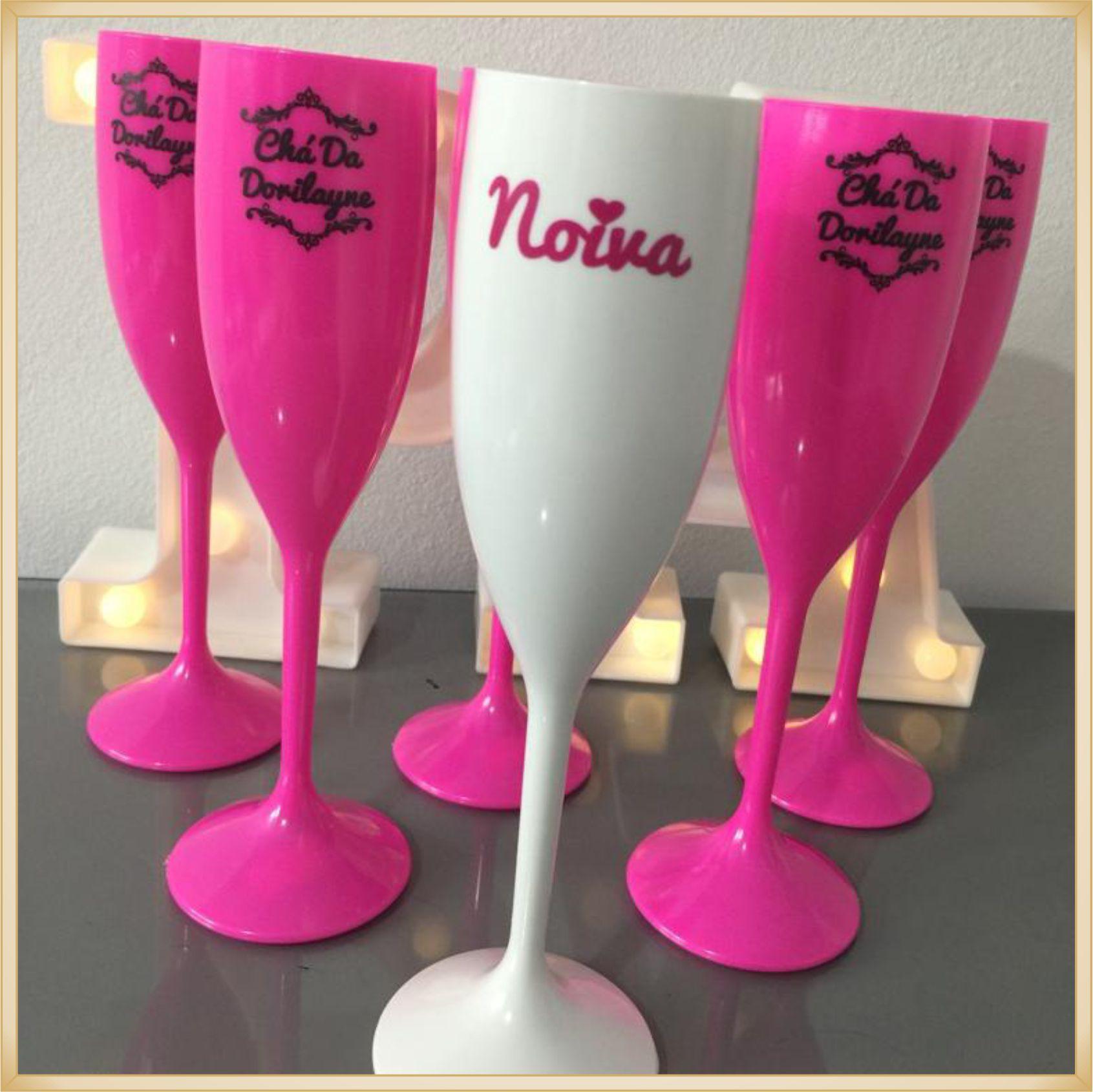 Taças de champanhe acrílico Personalizadas - material de qualidade, brilhante, acabamento perfeito, parede de 2,0 mm, 190 ml. kit 20 unidades