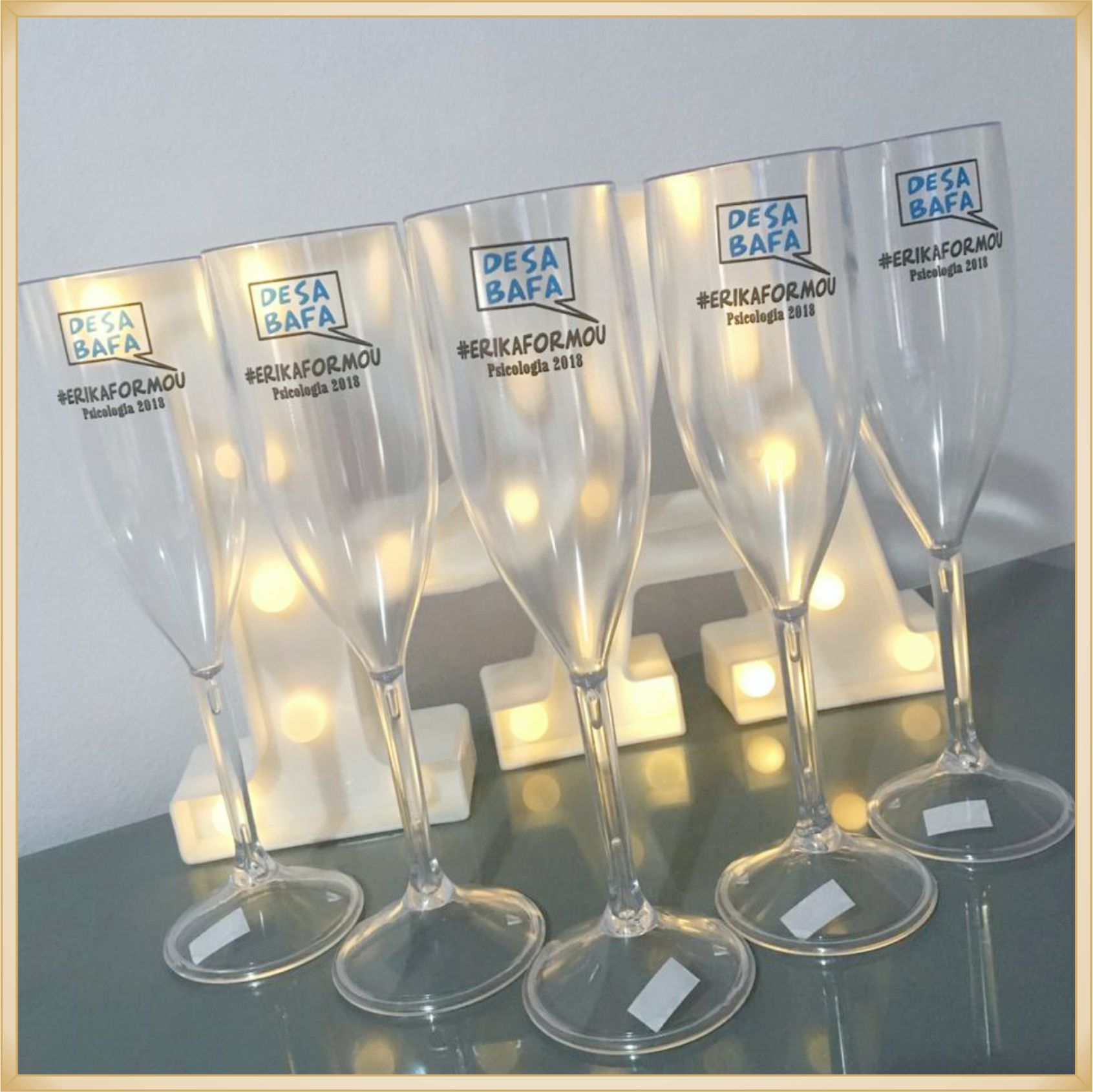 Taças de champanhe acrílico Personalizadas - material de qualidade, brilhante, acabamento perfeito, parede de 2,0 mm, 190 ml. kit 30 unidades