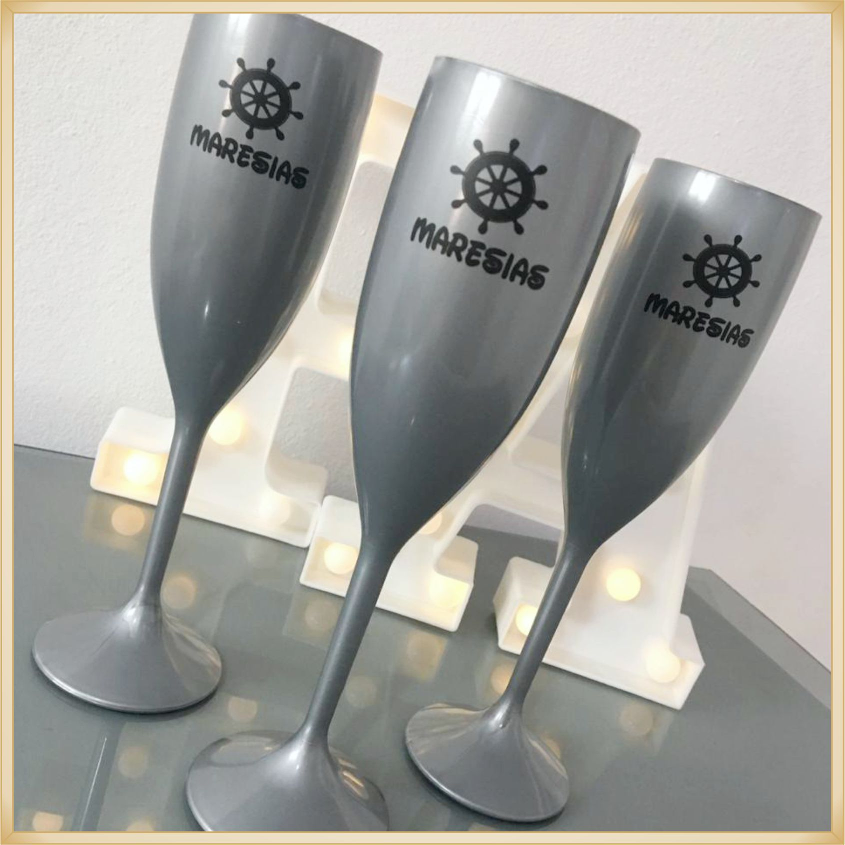 Taças de champanhe acrílico Personalizadas - material de qualidade, brilhante, acabamento perfeito, parede de 2,0 mm, 190 ml. kit 40 unidades