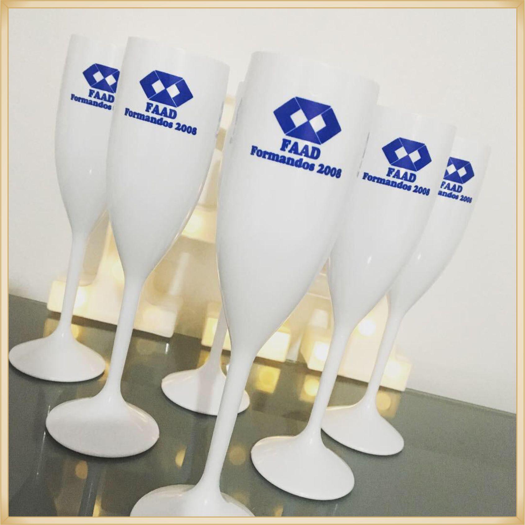 Taças de acrílico Personalizadas Formatura - material de qualidade, brilhante, acabamento perfeito, parede 2,0mm, produto Atóxico, 190ml. kit 50 unid.