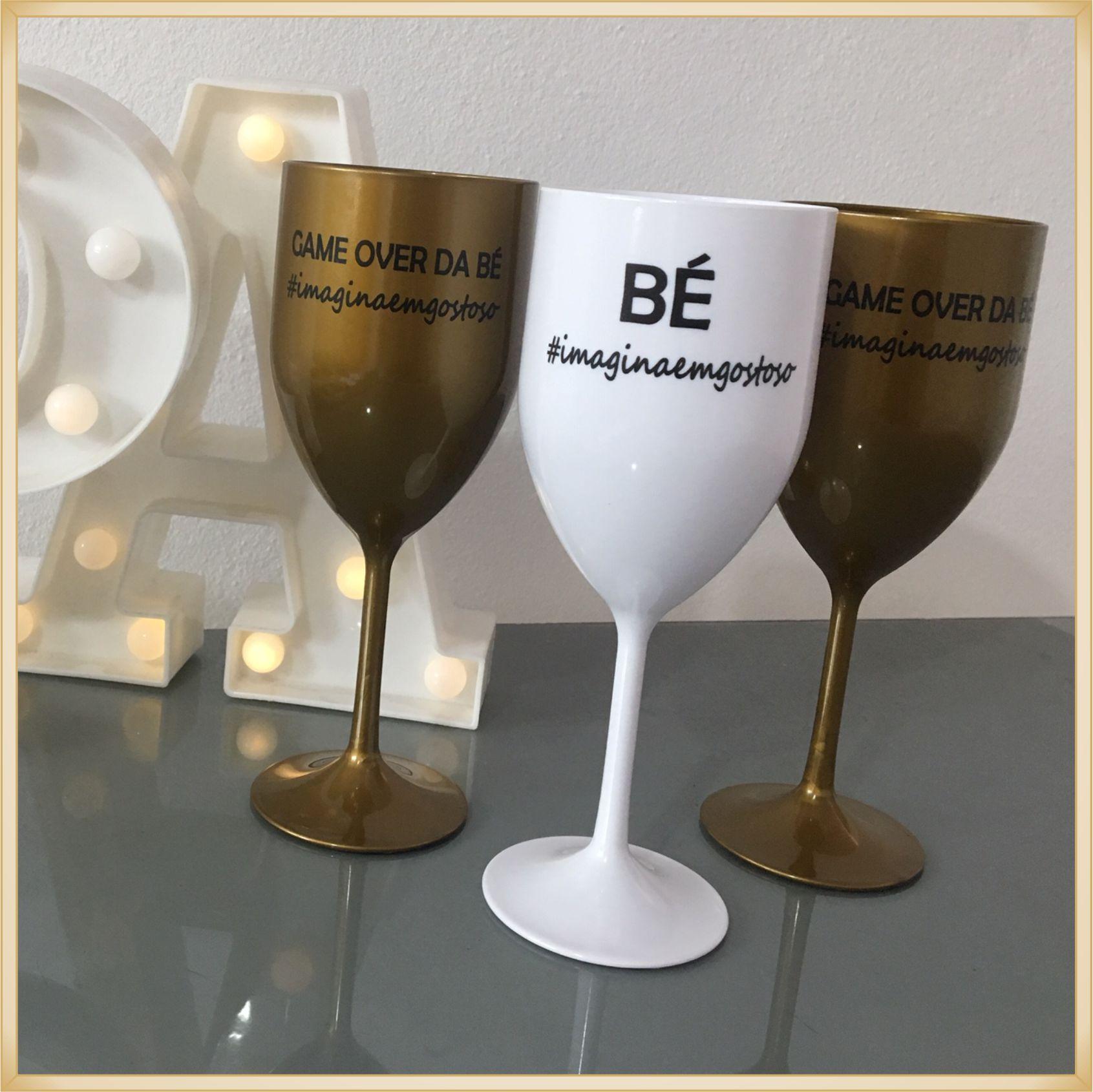 Taças de acrílico Personalizadas para Casamento - estampas de qualidade, brilhante, acabamento perfeito, parede de 2,0 mm, 350 ml. - kit 30 unidades
