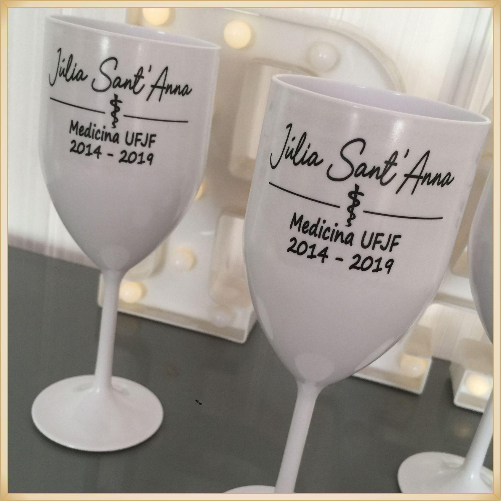 Taças de acrílico Vinho Personalizadas Formatura - alta qualidade, brilhante, acabamento perfeito, parede 2,0mm, produto Atóxico, 350ml. kit 50 unid.