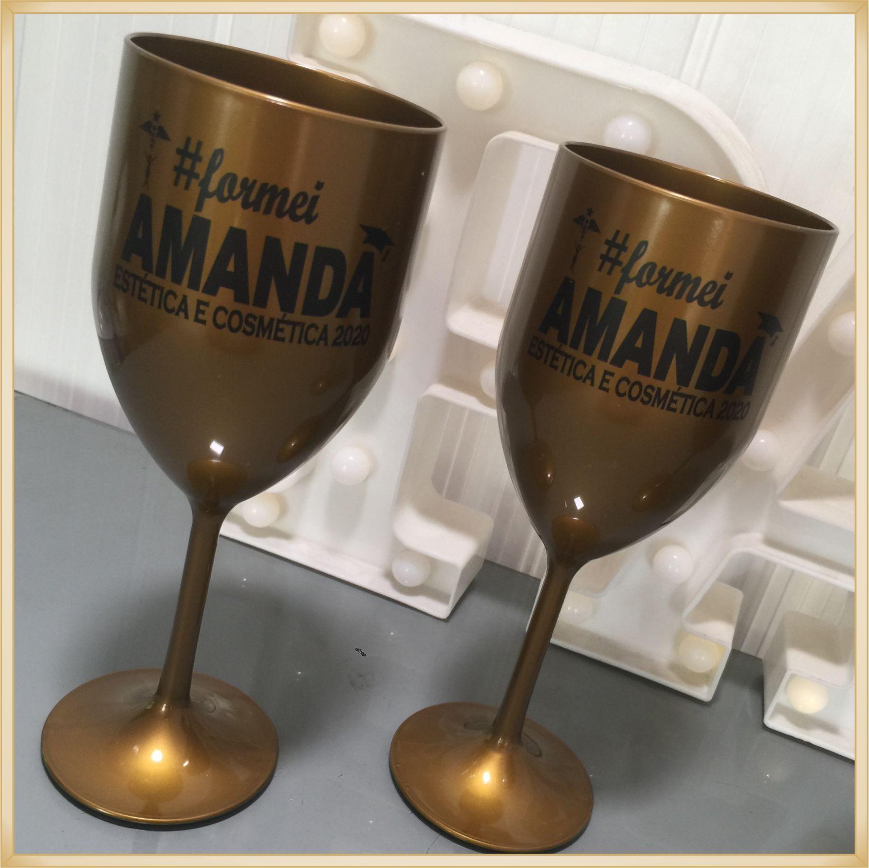 Taças de acrílico Vinho Personalizadas Formatura - alta qualidade, brilhante, acabamento perfeito, parede 2,0mm, produto Atóxico, 350ml. kit 30 unid.