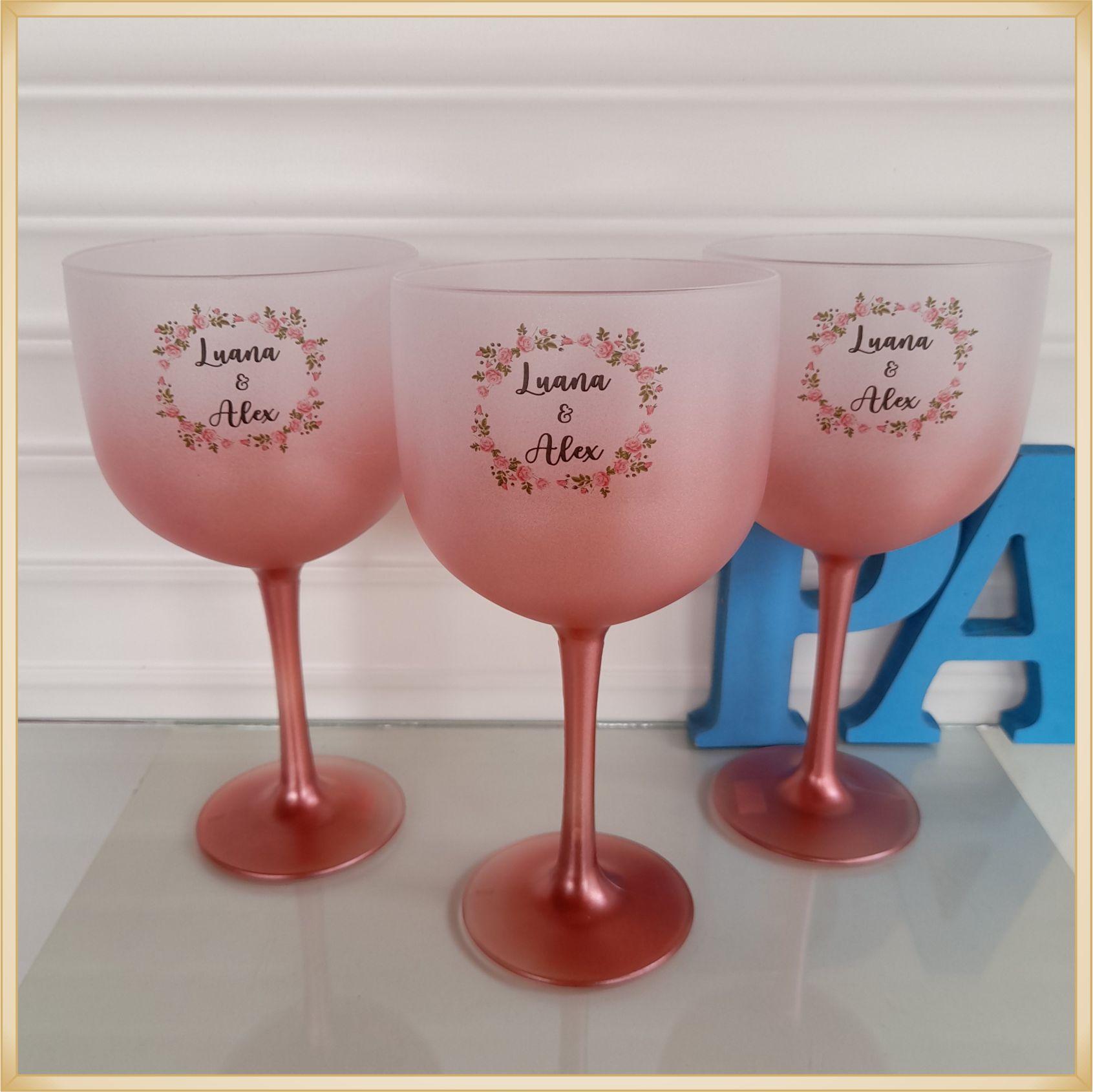 Taças de gin Degrade personalizada Casamento - produto de alta qualidade, brilhante, ótimo acabamento, parede 2,5 mm, material atóxico, 580 ml. 10 unid