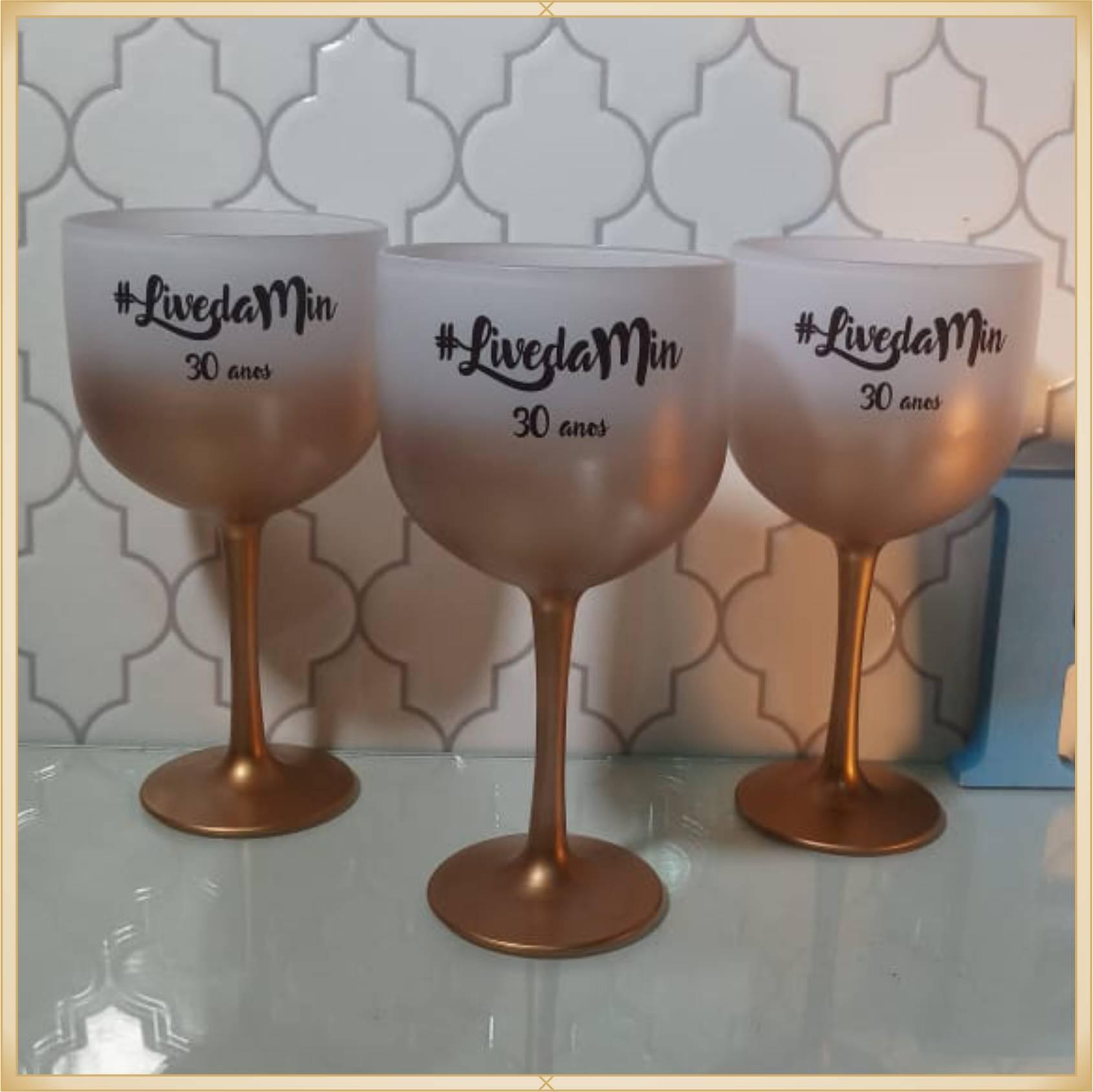 Taças de gin degradê personalizadas - alta qualidade, brilhante, ótimo acabamento, parede de 2,5mm, material atóxico, 580 ml - kit 40 unidades