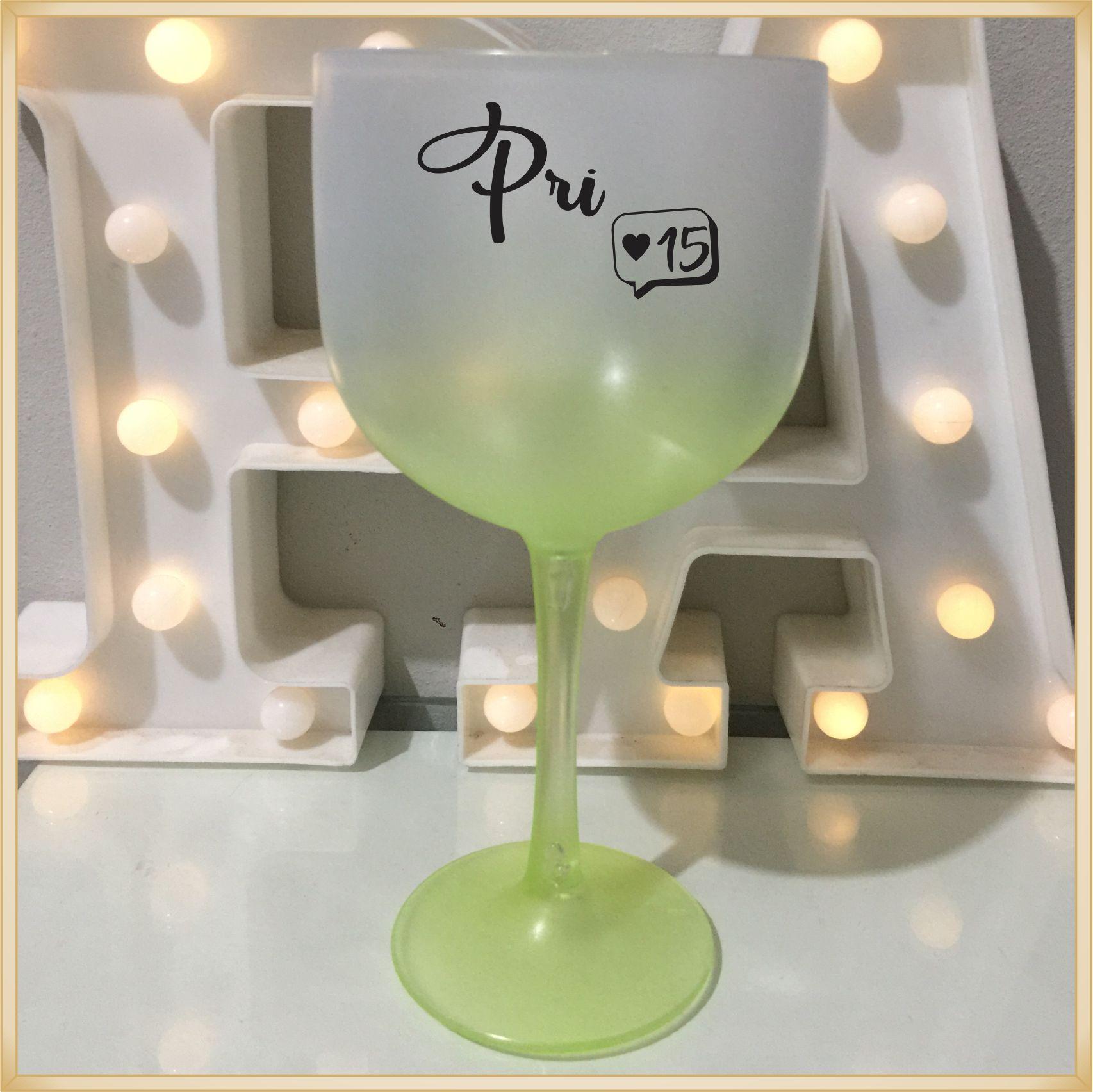 Taças de gin degrade personalizadas aniversário 15 anos - alta qualidade, brilhante, ótimo acabamento, parede de 2,5mm, material atóxico, 580 ml