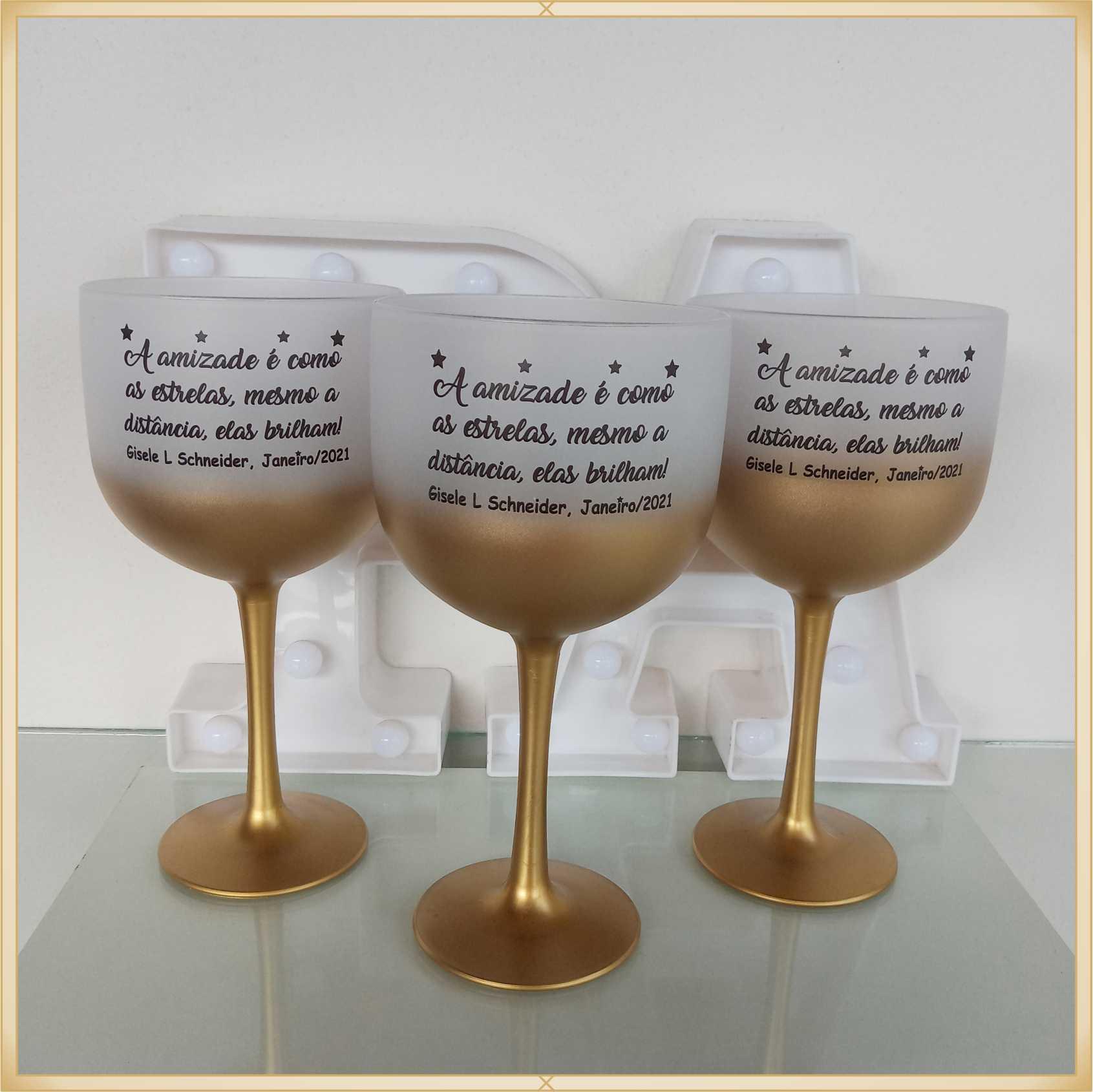 Taças de gin degrade personalizadas aniversário - alta qualidade, brilhante, ótimo acabamento, parede de 2,5mm, material atóxico, 580 ml - kit 15 unidades
