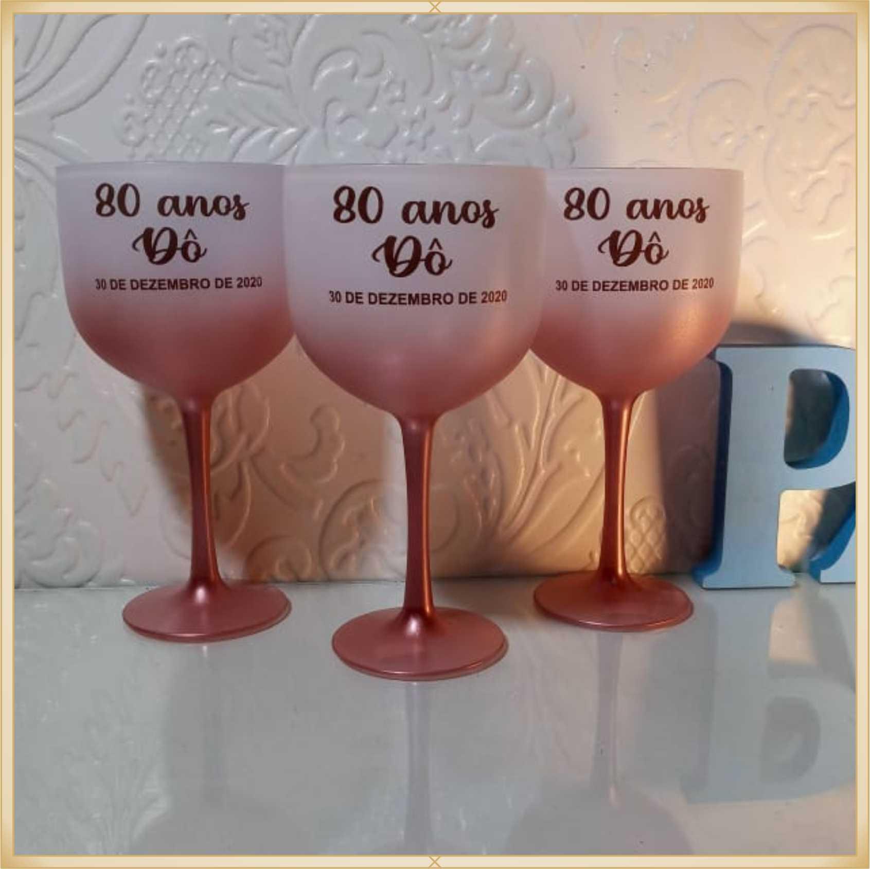 Taças de gin degradê personalizadas aniversário - alta qualidade, brilhante, ótimo acabamento, parede de 2,5mm, material atóxico, 580 ml - kit 10 unidades
