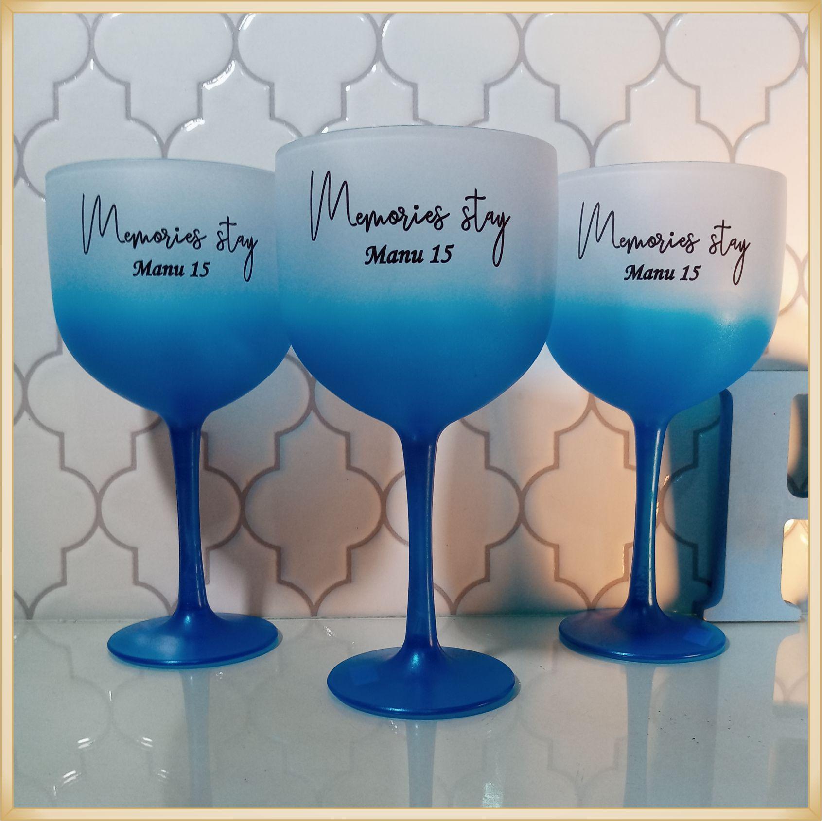 Taças de gin degrade personalizadas aniversário - alta qualidade, brilhante, ótimo acabamento, parede de 2,5mm, material atóxico, 580 ml - kit 10 unidades