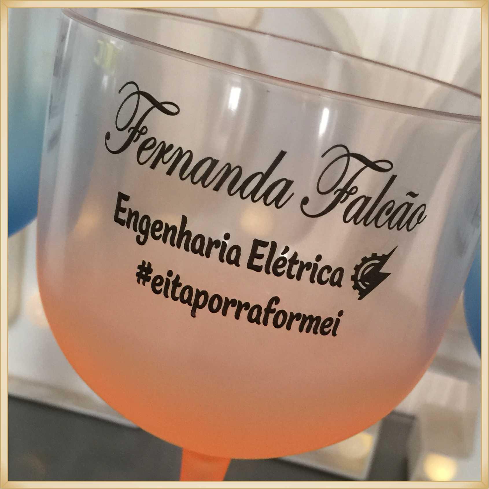 Taças de gin degradê personalizadas Formatura - alta qualidade, brilhante, ótimo acabamento, parede de 2,5 mm, material atóxico, 580 ml - kit 15 unid.
