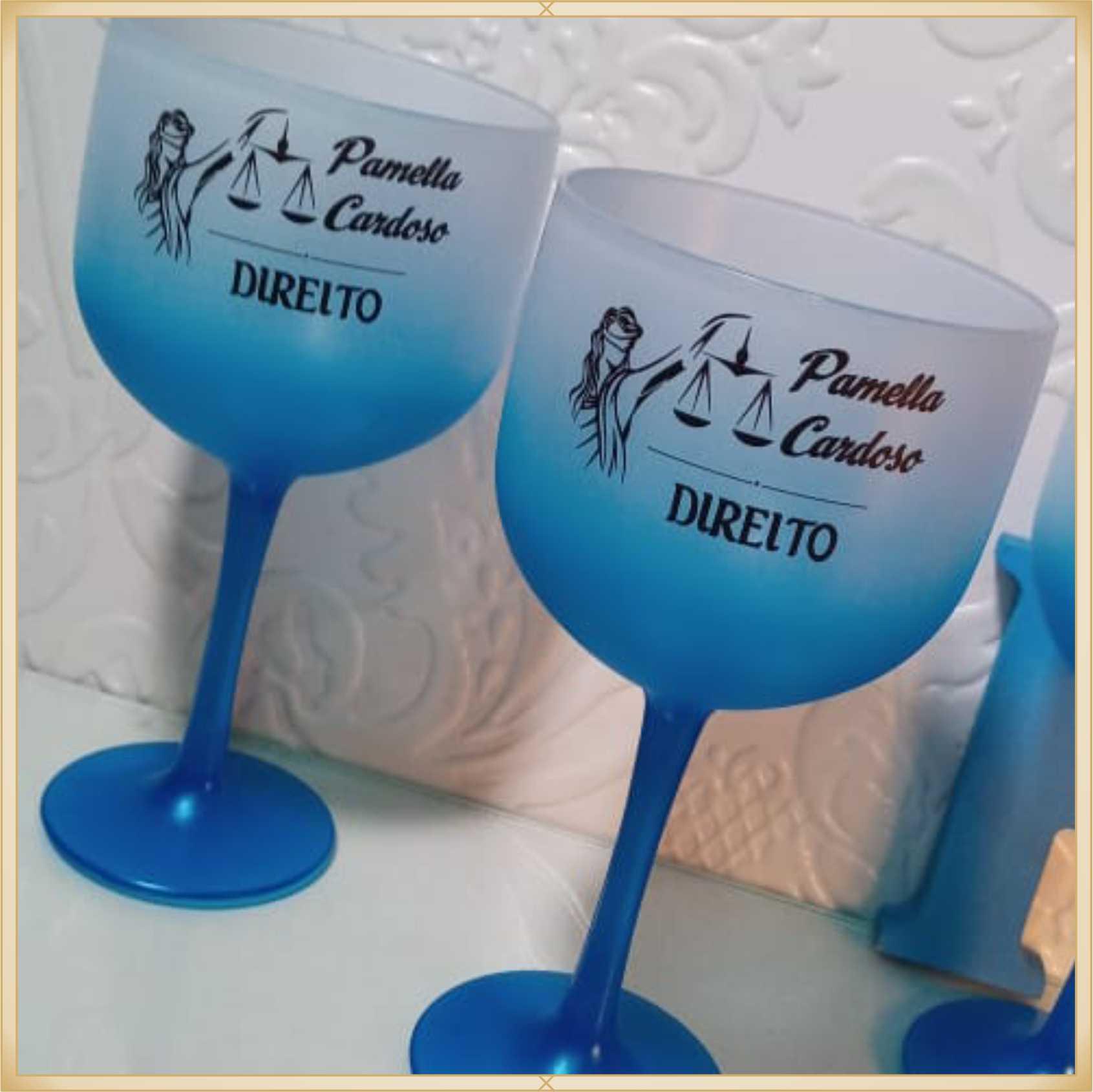Taças de gin degradê personalizadas Formatura - alta qualidade, brilhante, ótimo acabamento, parede de 2,5 mm, material atóxico, 580 ml - kit 20 unid.