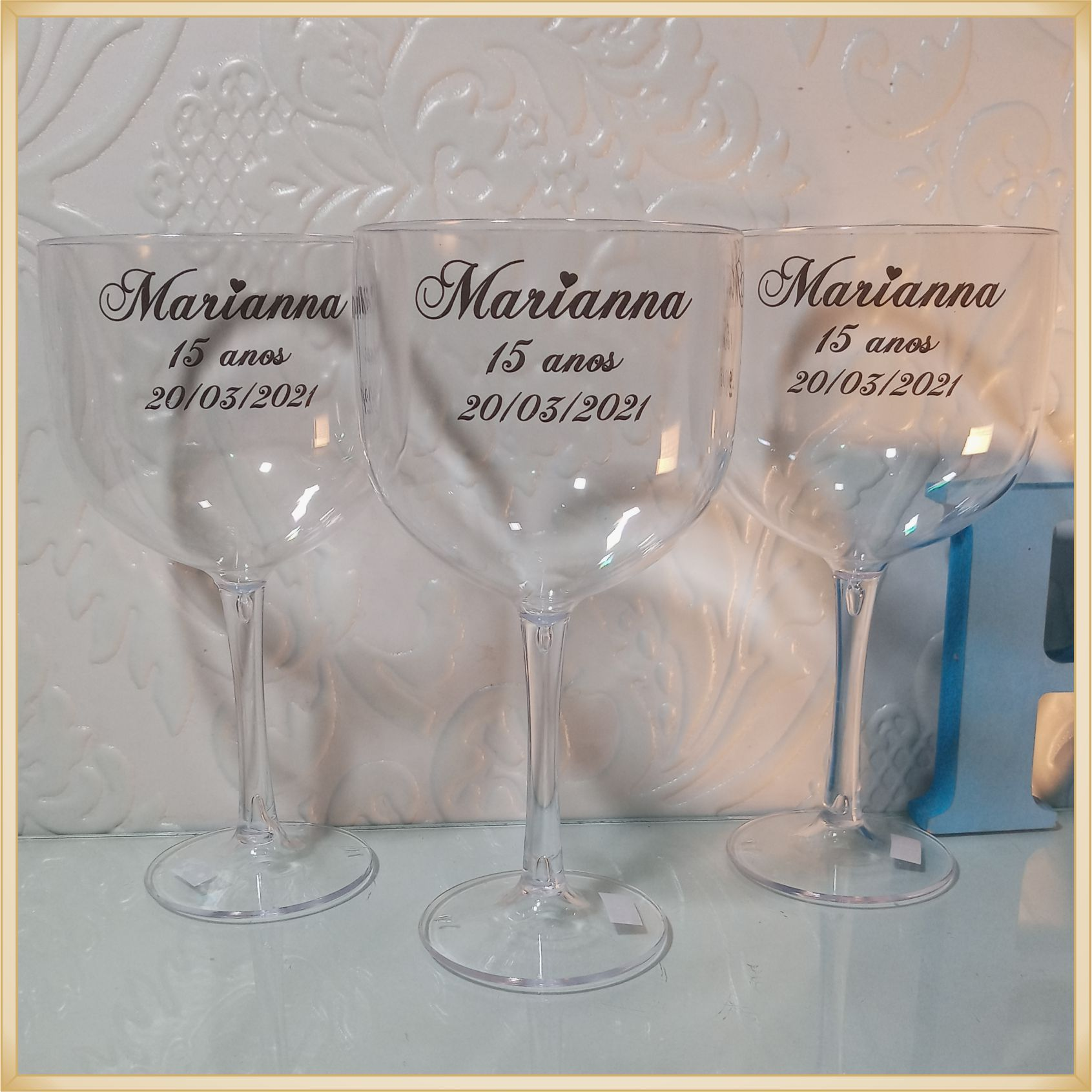 Taças de gin personalizadas 15 anos- alta qualidade, brilhante, ótimo acabamento, parede de 2,5 mm, material atóxico, 580 ml - kit com 15 unidades