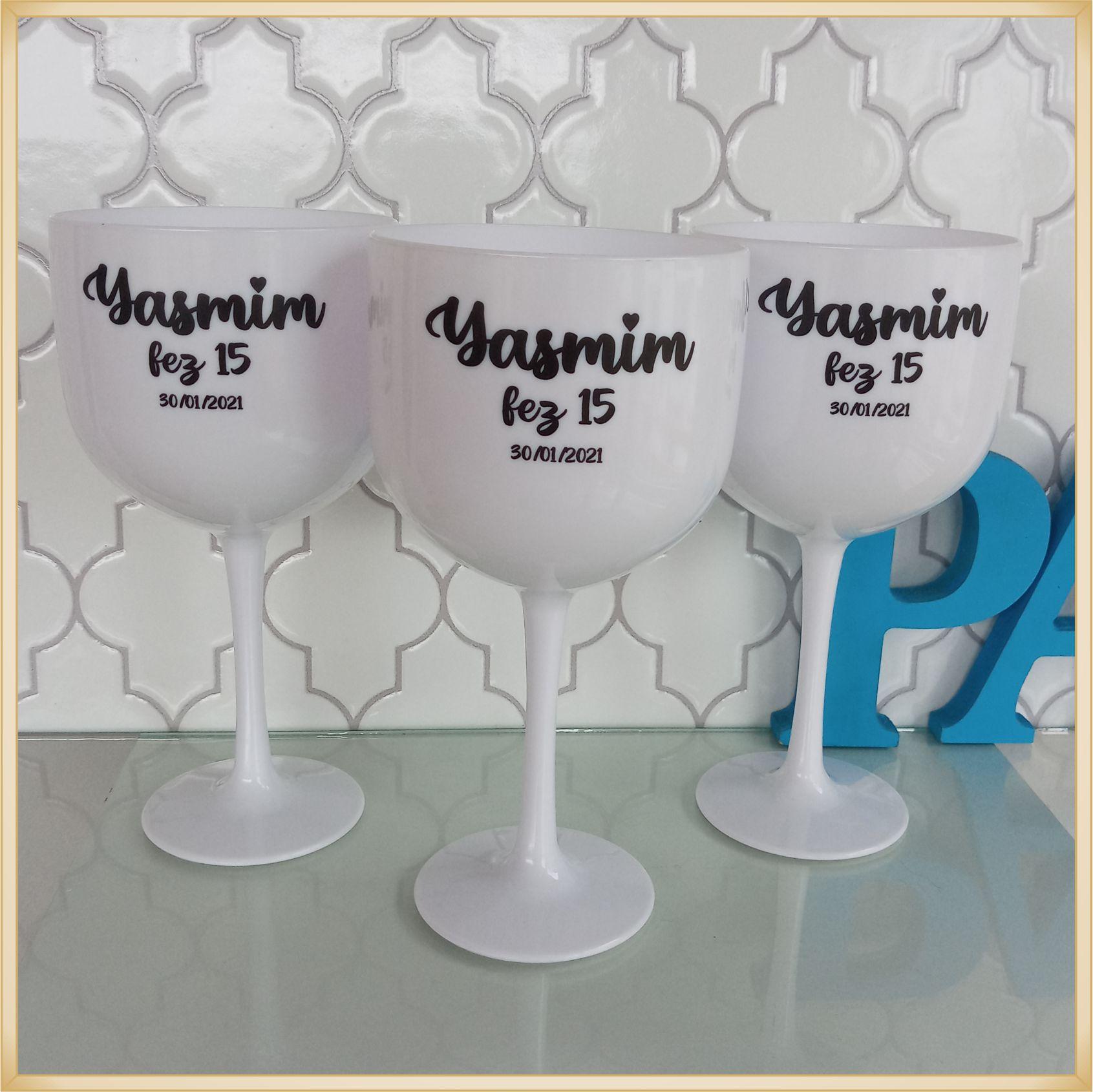 Taças de gin personalizadas 15 anos- alta qualidade, brilhante, ótimo acabamento, parede de 2,5 mm, material atóxico, 580 ml - kit com 10 unidades