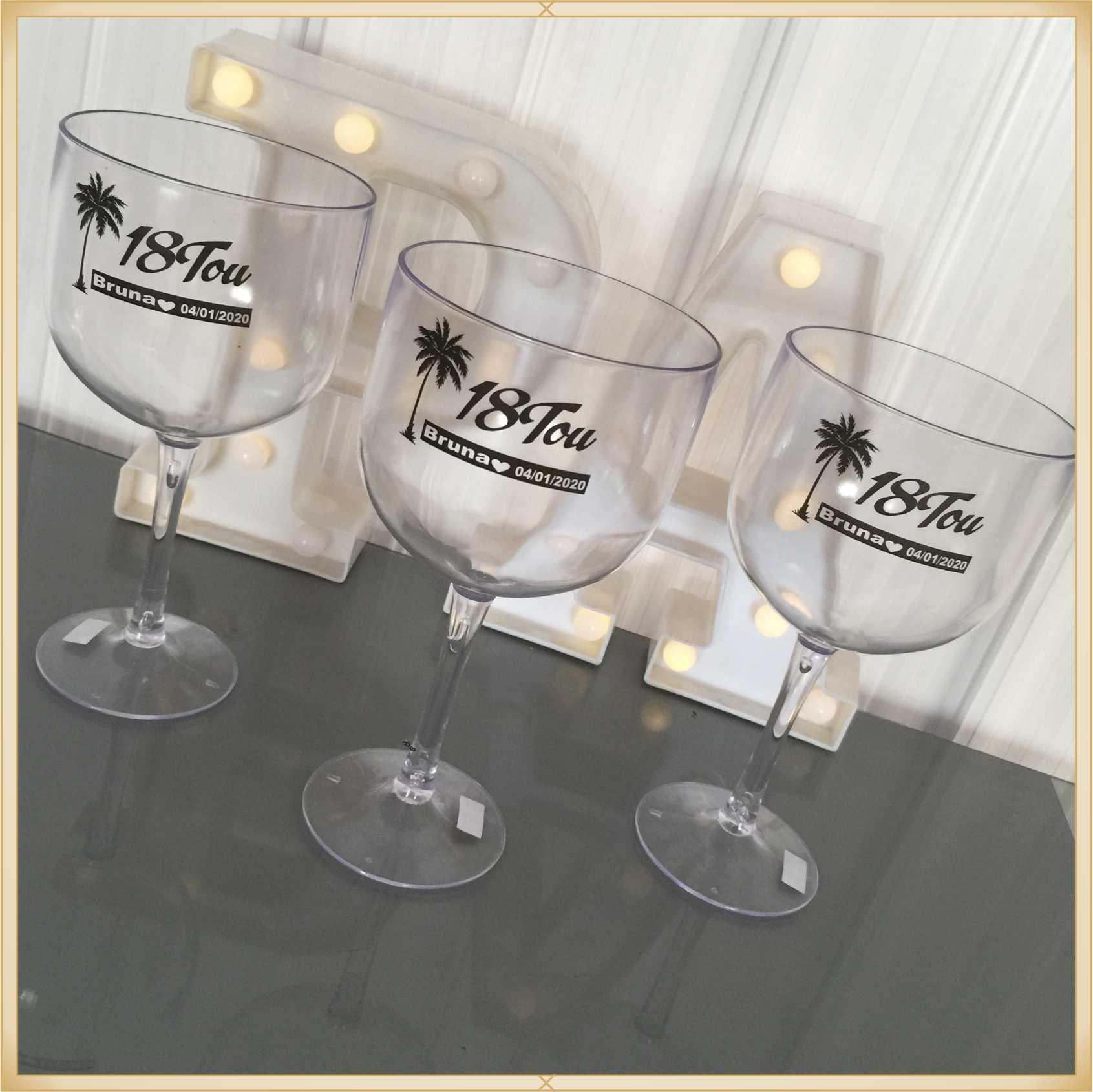 Taças de gin personalizadas Aniversário - alta qualidade, brilhante, ótimo acabamento, parede de 2,5 mm, material atóxico, 580 ml - kit com 15 unidades
