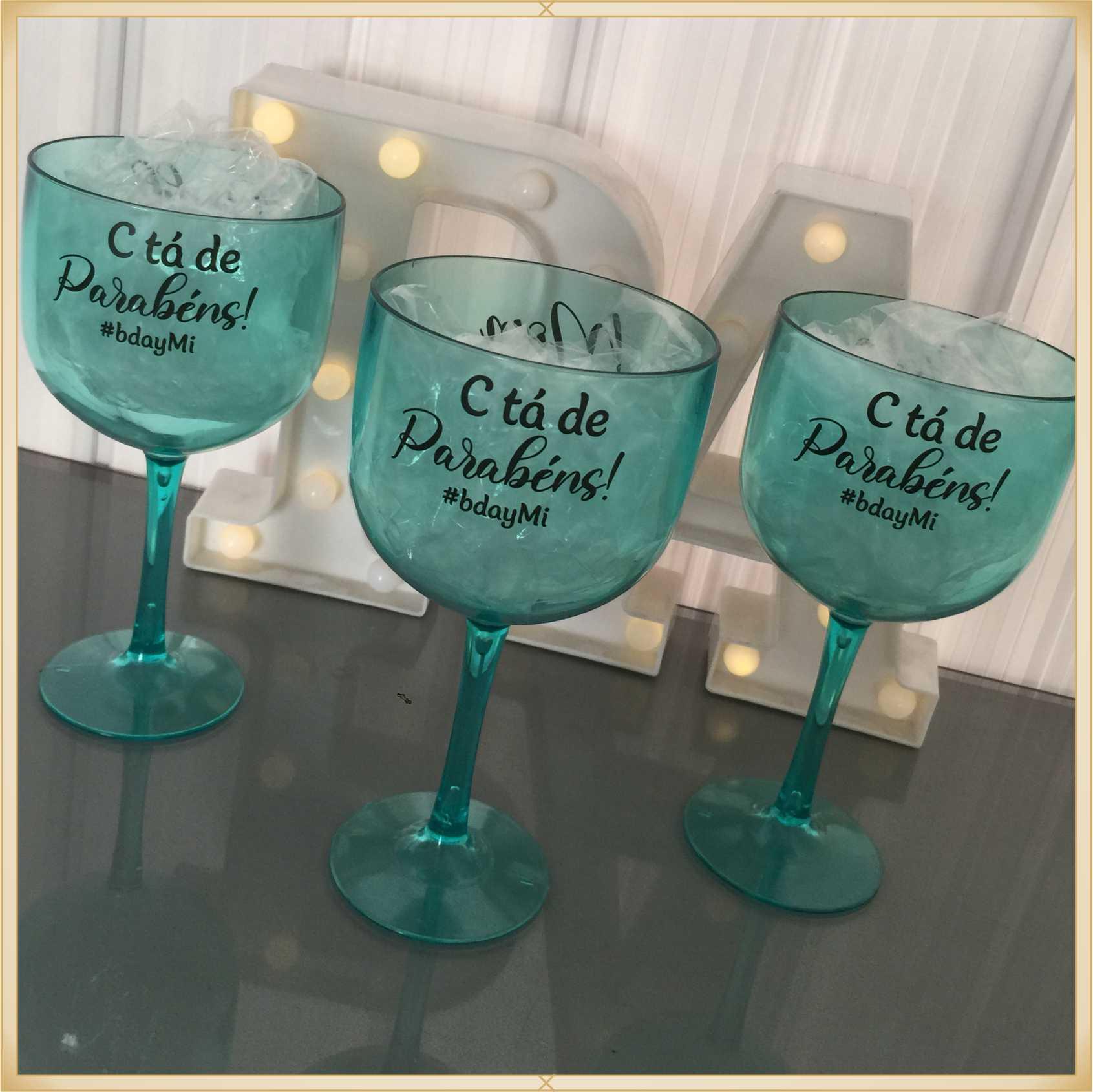 Taças de gin personalizadas Aniversário - alta qualidade, brilhante, ótimo acabamento, parede de 2,5 mm, material atóxico, 580 ml - kit com 30 unidades