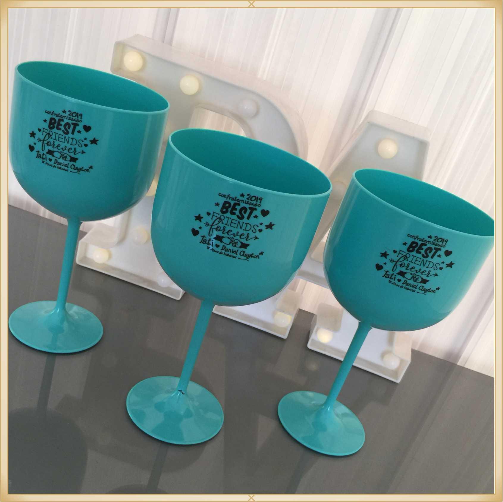 Taças de gin personalizadas Aniversário - alta qualidade, brilhante, ótimo acabamento, parede de 2,5 mm, material atóxico, 580 ml - kit com 10 unidades