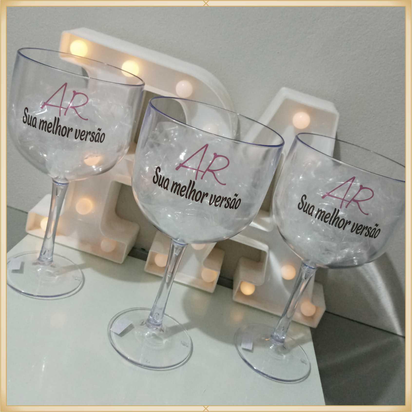 Taças de gin personalizadas Empresarial - alta qualidade, brilhante, ótimo acabamento, parede de 2,5 mm, material atóxico, 580 ml - kit com 10 unidades