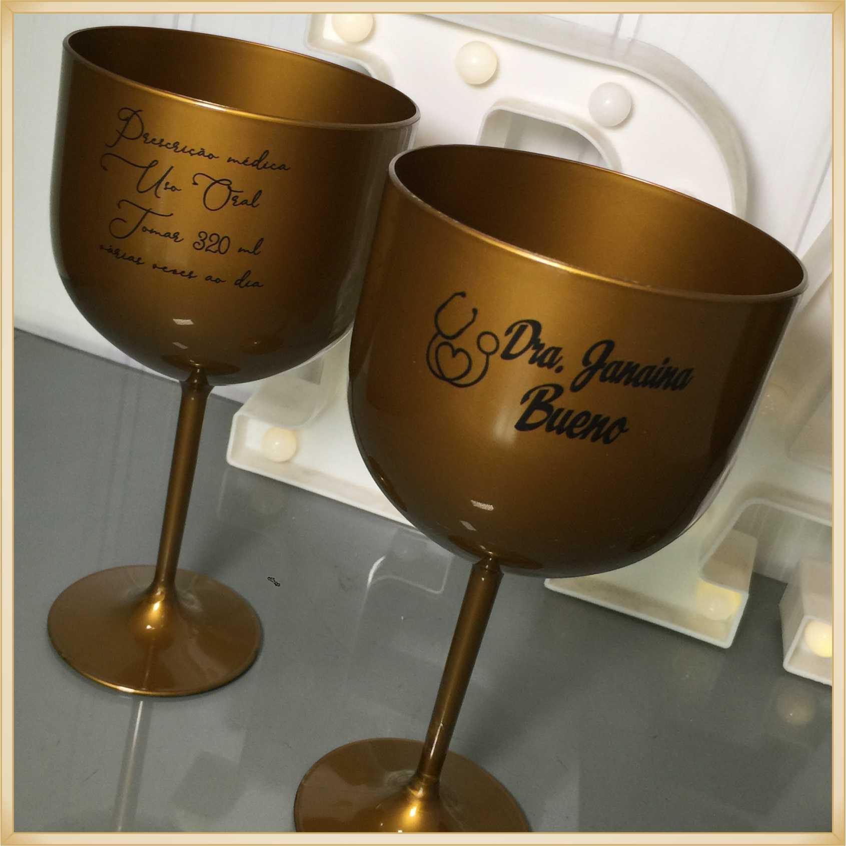Taças de gin personalizadas Formatura - alta qualidade, brilhante, ótimo acabamento, parede de 2,5 mm, material atóxico, 580 ml - kit com 15 unidades