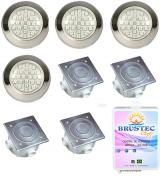 Kit de 4 Refletores Power LED em Inox -Até 48m²  para piscina até 10,00 x 4,80 - Brustec