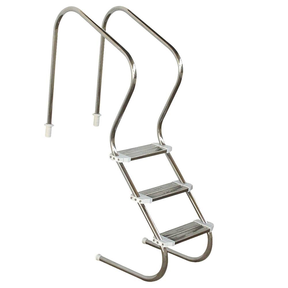 Escada em aço inox Confort 2´´ com 3 degraus duplos em aço inox Sodramar
