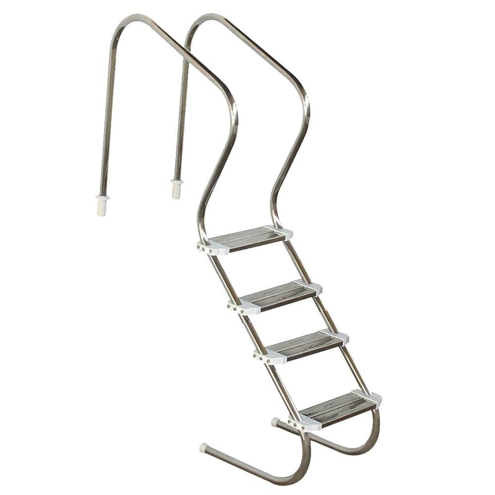 Escada em aço inox Confort 2´´ com 4 degraus duplos em aço inox Sodramar