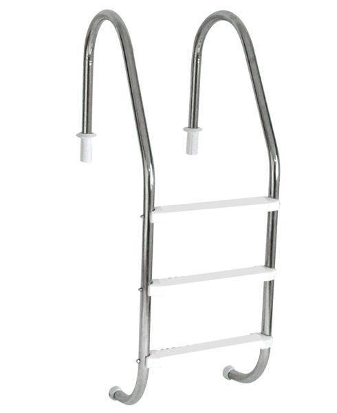 Escada Tradicional 1 1/2´´ em Aço Inox 3 Degraus Anatômicos em ABS Sodramar