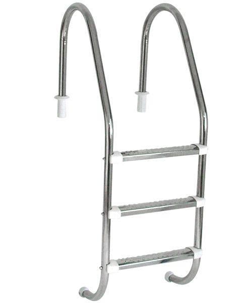 Escada Tradicional 1 1/2´´ em Aço Inox 3 Degraus Anatômicos em Inox Sodramar