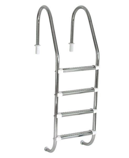 Escada Tradicional 1 1/2´´ em Aço Inox 4 Degraus Anatômicos em Inox Sodramar