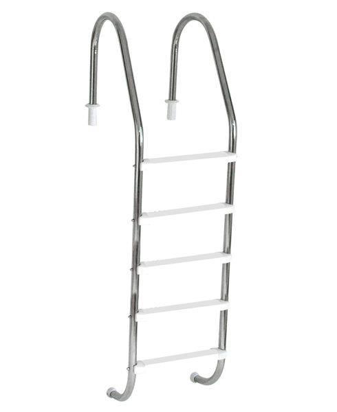 Escada Tradicional 1 1/2´´ em Aço Inox 5 Degraus Anatômicos em ABS Sodramar