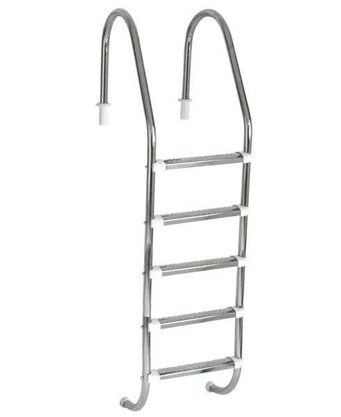 Escada Tradicional 1 1/2´´ em Aço Inox 5 Degraus Anatômicos em Inox Sodramar