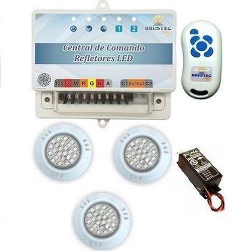Kit de 3 Refletores Power LED Abs 9w  -  para piscina até 8 x 4,50 - Brustec