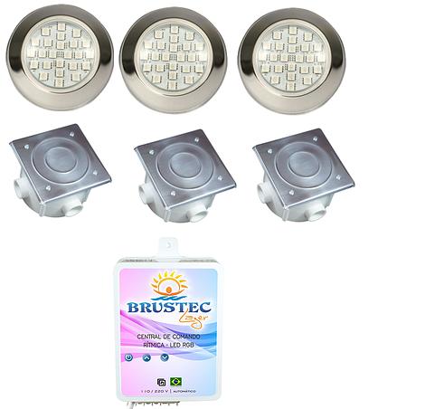 Kit de 3 Refletores Power LED em Inox - Até 36m² para piscina até 8 x 4,50 - Brustec