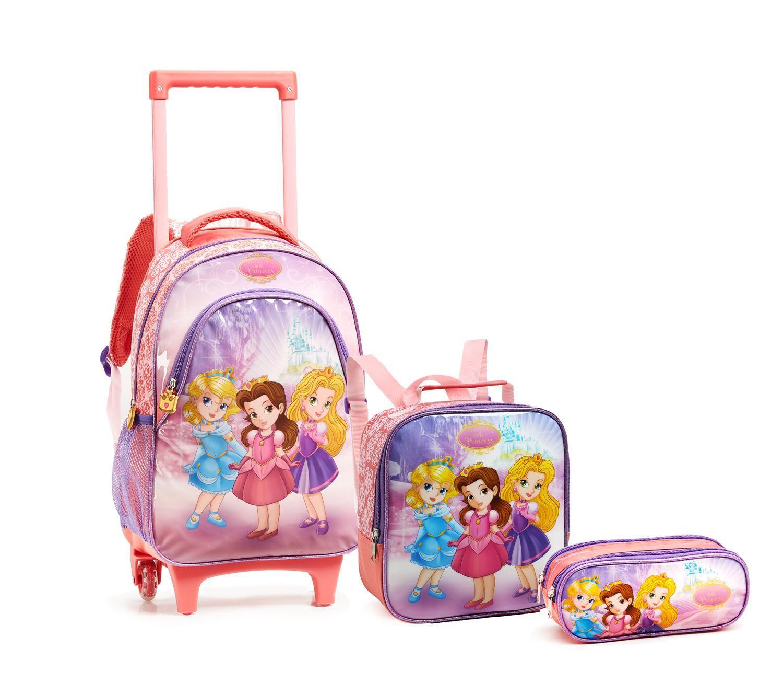 07ac577a2 Kit Mochila Infantil Carrinho + Lancheira + Estojo Escolar Princesas  Ref.14167