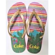 CHINELO COCA COLA CACTUS PINK/OURO CC3054