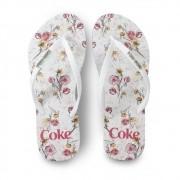 Chinelo de Dedo Coca Cola Floral CC3149 Feminino Branco